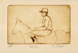 """Jockey""    etching     5""x8"""