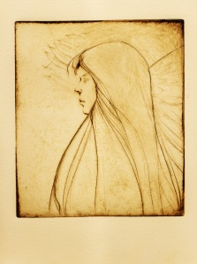 """Angel""  etching  6 1/2""x6"""