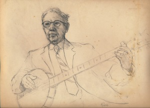 Banjo Player, pencil