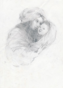 Mother And Child, pencil