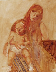 """""""Mother And Child""""   watercolor  28""""x22"""""""