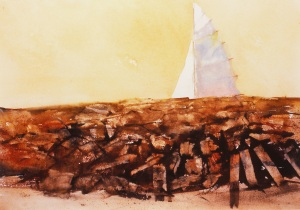 """Hammonasset Sail""    watercolor   13""x20"""