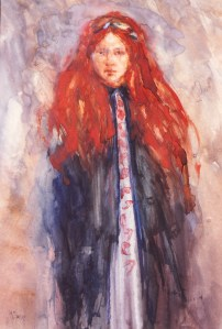 """Girl With Red Hair""   watercolor   15""x12"""