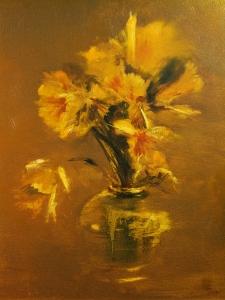 Stoneware Vase, A Burst Of Yellow      20″x16″