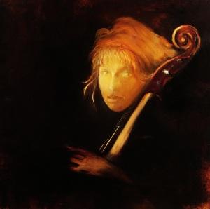 """Debbie Posing With My Cello III""     24""x24"""