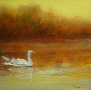"""Swan Lake  10""""x10"""""""