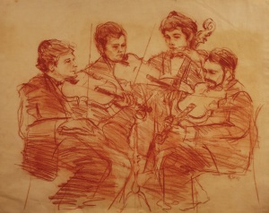"""String Quartet""  19""x23"" red Conte chalk on toned paper"