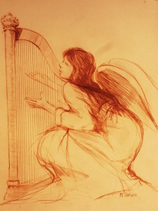 """""""Angel With Harp""""  Conte chalk, 11""""x10"""""""