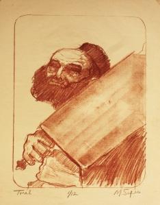 """Torah""   lithograph, 12""x9"""