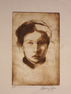 """Lisa""   etching,  6""x4"""