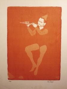 """""""Jester With Flute""""  18""""x13""""   silkscreen"""