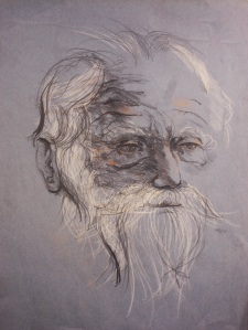 """Old Man""   16""x12""    chalk on toned paper"