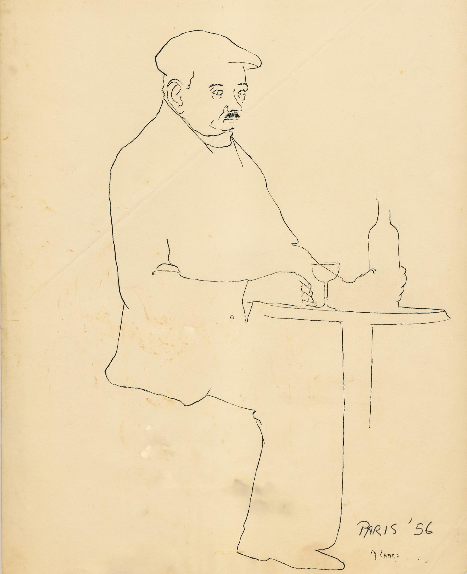 """At The Cafe, Paris""    ink,  10""x8"""