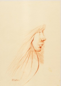"""Profile""   red conte chalk"