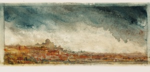 """""""City On The Hill""""  watercolor   4""""x10"""""""
