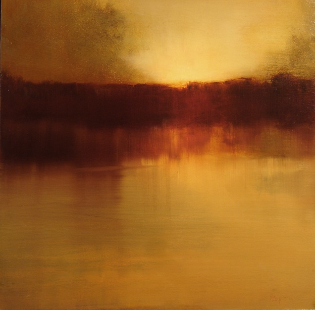 "Storm Cloud At Sunset (oil on panel, 24"" x 24"")"