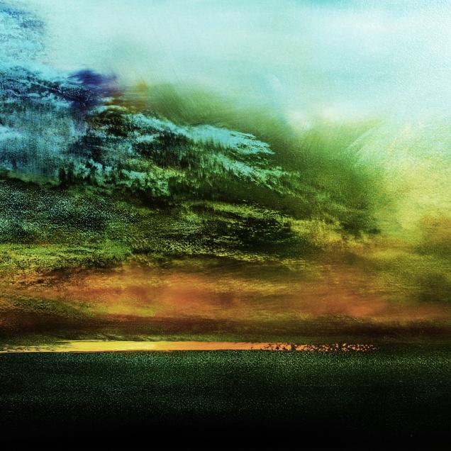 "Blue Cloudburst (16"" x 24"", oil on paper on panel)"