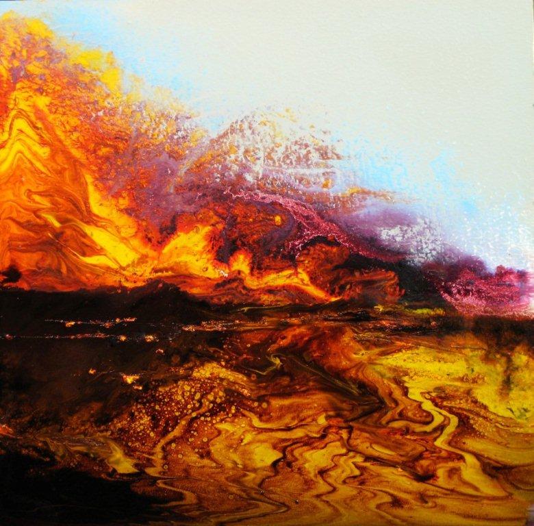 """Lava Flow"" (oil on panel, 12"" x 12"")"