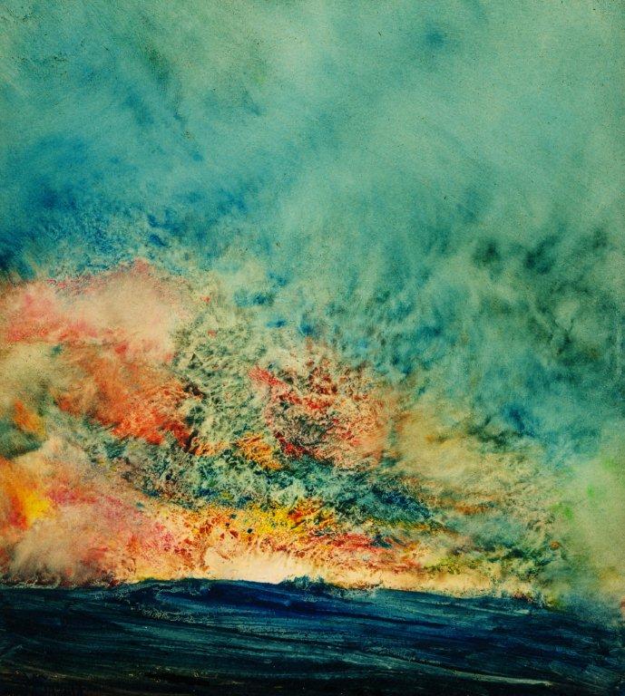 """""""Sky Fire"""" (12"""" x 12"""", oil on paper)"""