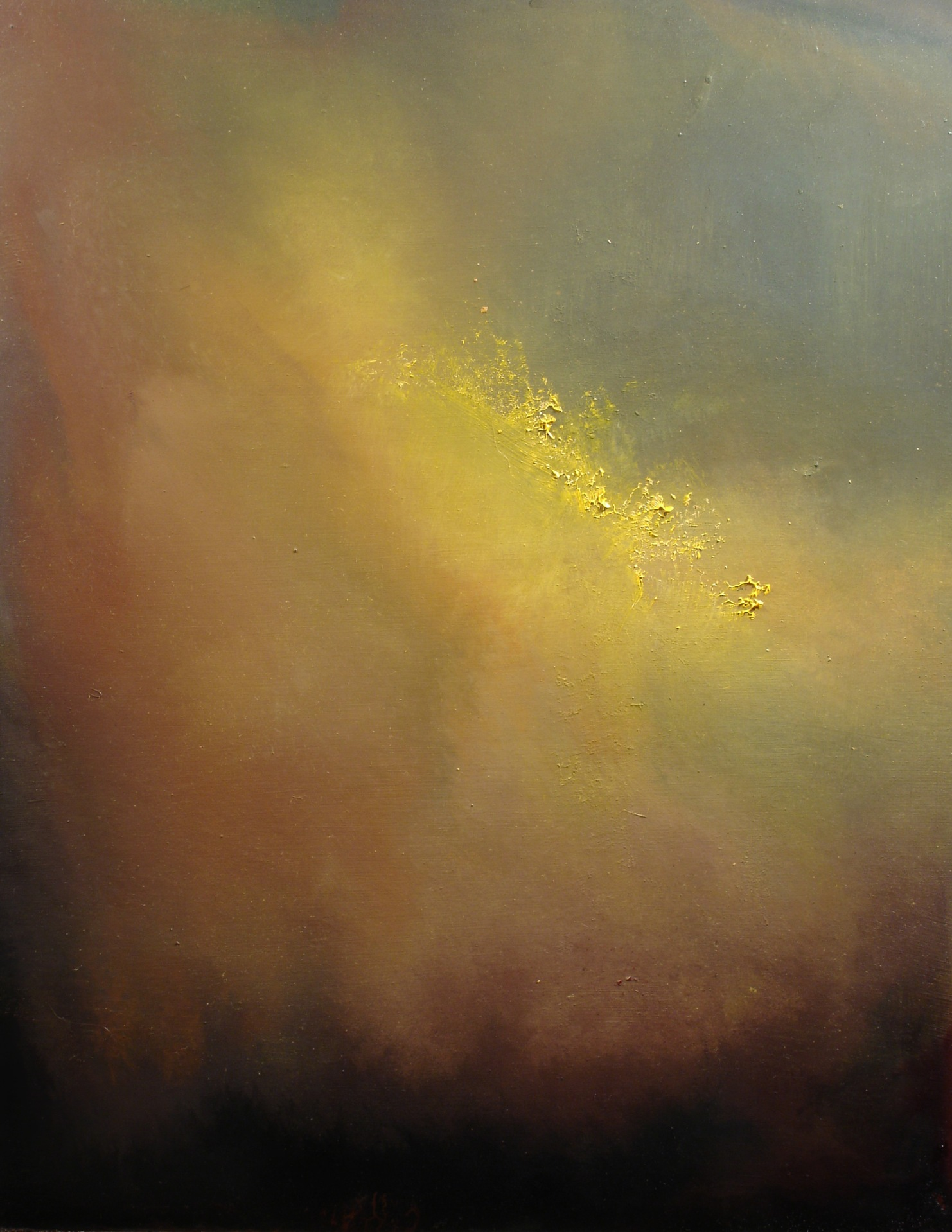 "Yellow Cloud At Sunset (oil on panel 16""x20"")"