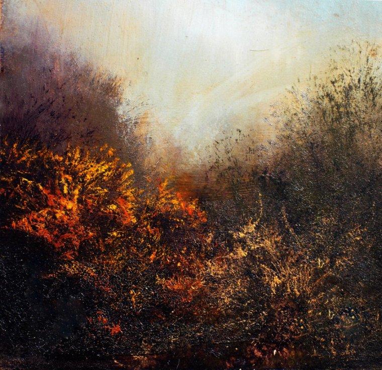 """Fall"" (10""x10"", oil on panel, edged in oak veneer, available on eBay)"