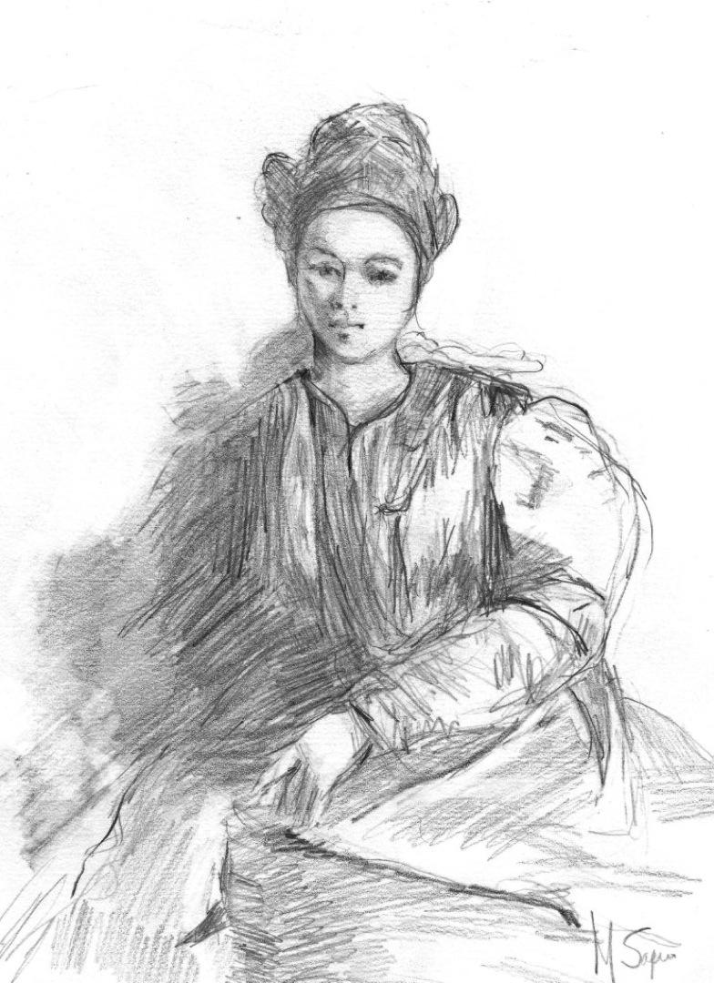 "Meditation (pencil drawing, 12""x9"")"