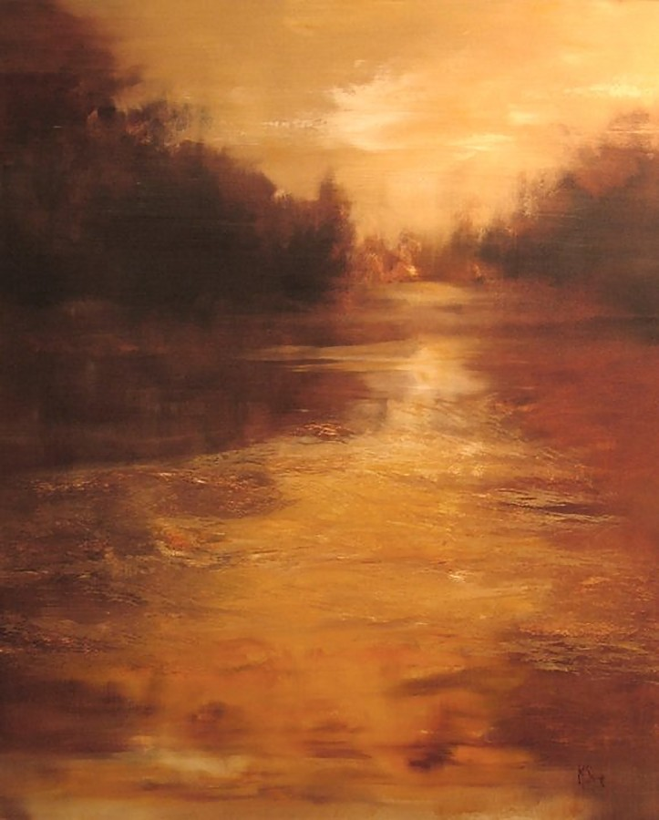 """Running Water"" (signed lower right, oil on canvas, 48"" x 40"")"