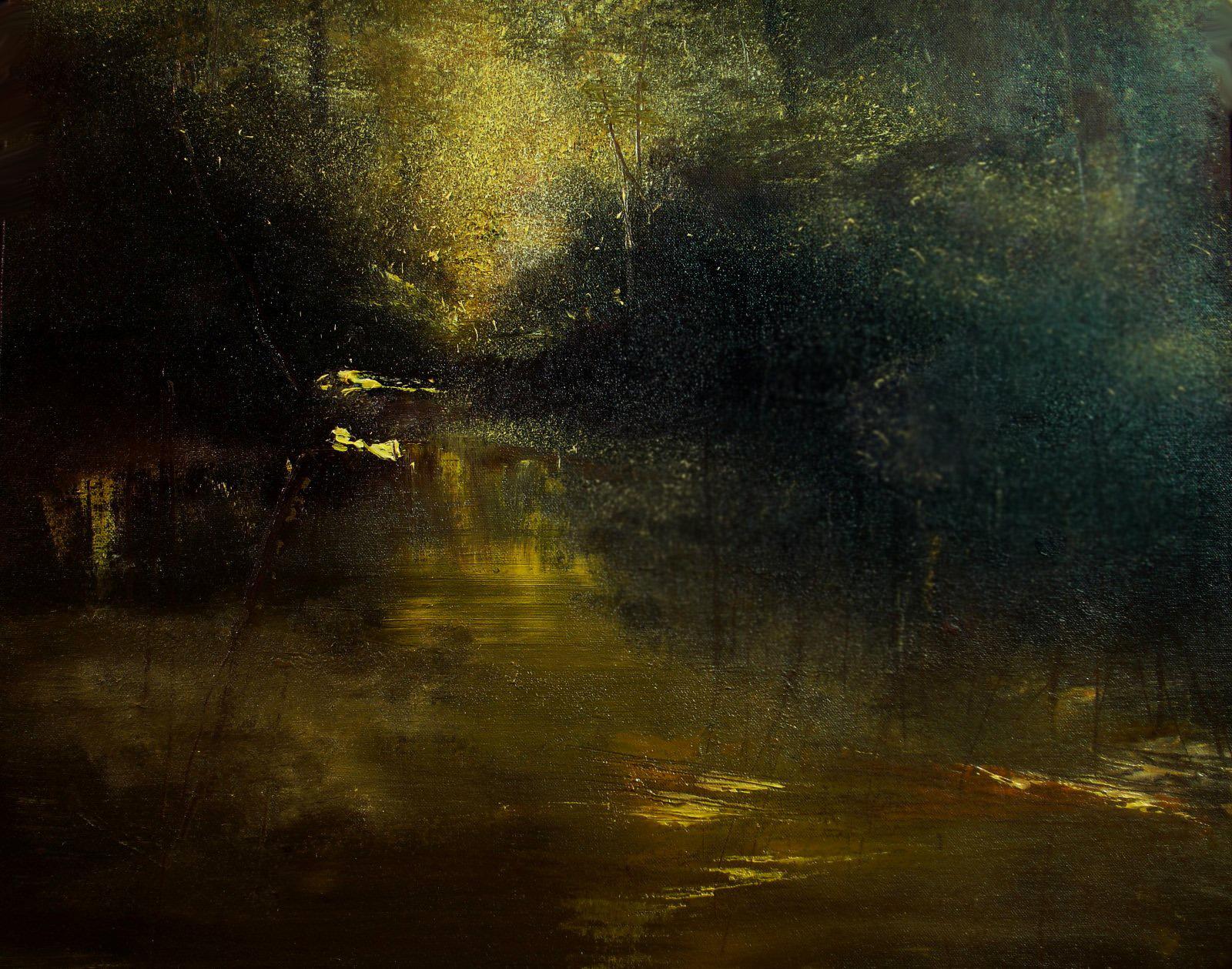 "Sunset Stream (Oil On Canvas, 16""x20"")"