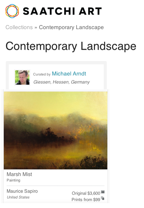 "My oil painting ""Marsh Mist"" is available at Saatchi Art and it is also featured in their curated ""Contemporary Landscape"" collection."