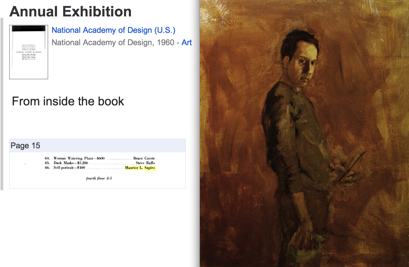 "My ""Self Portrait"" was selected for the National Academy of Design Annual Exhibition, 1960."